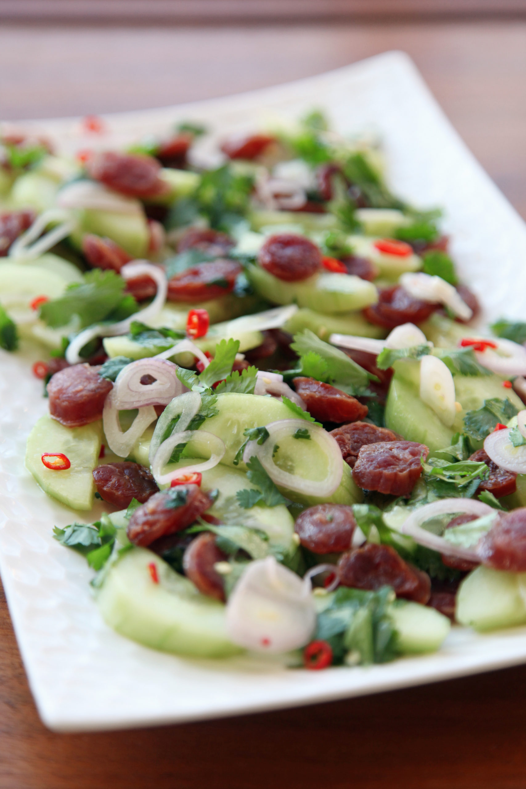 Spicy Thai Cucumber and Sausage Salad | amodestfeast.com | A Modest Feast